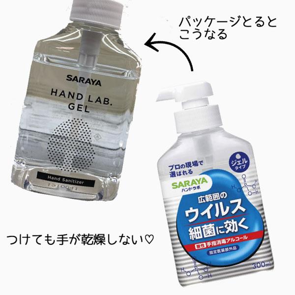 サラヤのハンドラボジェル 手指消毒アルコール